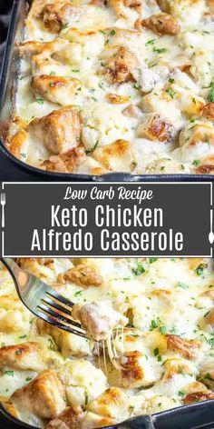 Alfredo Casserole Recipe, Casserole Recipes, Keto Casserole, Low Carb Recipes, Healthy Dinner Recipes, Cooking Recipes, Easy Comfort Food Recipes, Low Carb Dinner Ideas, Shredded Chicken Recipes