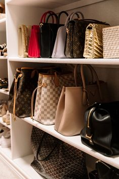 How I Organize My Closet – Purses And Gandbags Organization Organizing Purses In Closet, Handbag Organization, Closet Storage, Closet Organization, Shoes Organizer, Closet Shelves, Small Closet Space, Small Closets, Bedroom Closet Design