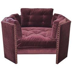 Dark Berry Velvet Curl Up Chair