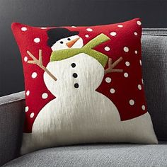 """Snow Day 18"""" Holiday Snowman Pillow"""