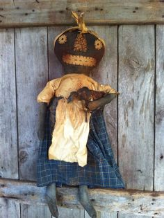 "Primitive+Black+Folk+ARt+Doll+Grungy+Extreme+with+her+Sheep+Blues++country+27""+#NaivePrimitive"