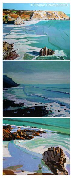 Three paintings of the Gower Peninsula by Swansea artist Emma Cownie