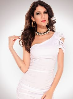 One-shoulder Pleated Dress with Ripped Sleeve White