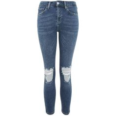 Topshop Petite High Waisted Ripped Jamie Jeans ($55) ❤ liked on Polyvore featuring jeans, mid stone, distressed skinny jeans, petite skinny jeans, high waisted jeans, blue skinny jeans and distressed jeans