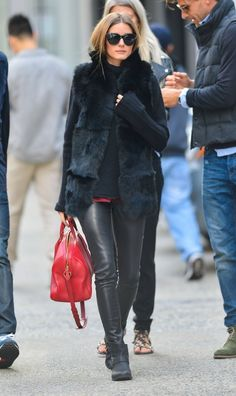 b335b43451eb Olivia Palermo looking rocker-chic in leather leggings