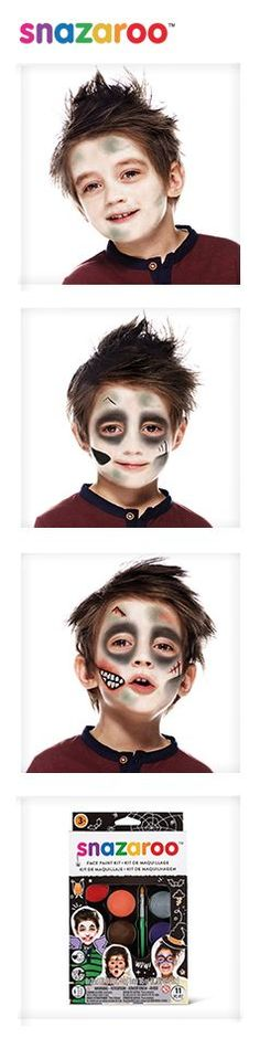 Our zombie look is super easy with our Halloween kit. Discover more at Snazaroo.
