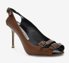 Manolo Blahnik Brown Peeptoe