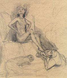 """Bruno Schulz (1892-1942) """"Two Men at the Feet of a Naked Woman"""", c. 1933, pencil, 15.9 x 16.4 cm,"""