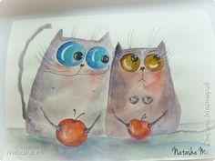 Привет Всем! Еще один пост, как итог за полгода, все мои акварельные коты, и не только. Приятного просмотра! Рисунки формата А3 и А4.  Масляными карандашами.  фото 26