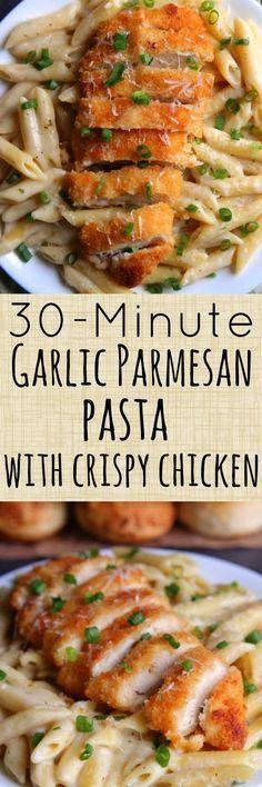 30-Minute Garlic Parmesan Pasta with Crispy Chicken