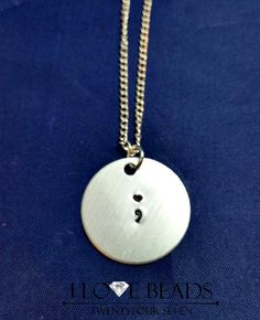 Project Semicolon Necklace - heart semi colon pendant- Suicide Prevention Jewelry-  Hand Stamped - Semicolon Pendant-my story is not over