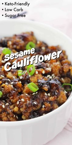 Low Carb Sesame Cauliflower - Sugar-free, keto-friendly version of the popular sesame chicken take out! Low Carb Sesame Cauliflower - Sugar-free, keto-friendly version of the popular sesame chicken take out! Healthy Recipes, Diet Recipes, Vegetarian Recipes, Cooking Recipes, Cooks Country Recipes, Dessert Recipes, No Carb Recipes, Primal Recipes, Country Cooking