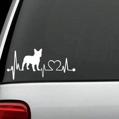 French Bulldog Frenchie Heartbeat Decal Sticker