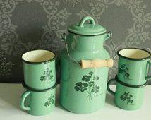 Vintage Green / Teal / Turquois Enamel Set - Industrial Milk Jug and 4 cups…