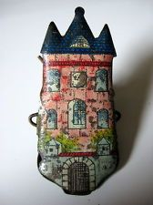 Antique German Litho Tin Pink Stone Castle Christmas Tree Candle Clip!