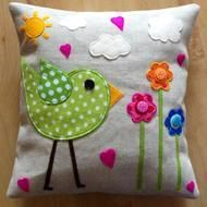 Funky Lime Bird Cushion, with flowers,hearts,sun and clouds Felt,fabric and buttons on Linen,   Approx 35cmx35cm  Cushion inner included Made to order, please allow 7-10 days (please contact me if you need in a hurry)