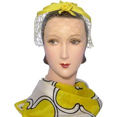 Vintage 1960s Yellow Rose Whimsy Hat available at My Vintage Clothes Line on Ruby Lane