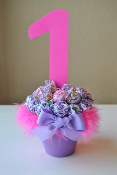 Hot pink dum dum lollipop birthday centerpiece $10.00