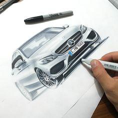 Mercedes Benz C Klasse sketch by Orhan Okay. Amazing level of detail and control. Auto Design, Car Design Sketch, Car Sketch, Mercedes Benz C Klasse, Industrial Design Sketch, Car Illustration, Sketch Markers, Car Drawings, Transportation Design