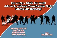 Team Fortress 2 Birthday Party Invitations - Any Wording - Get these invitations RIGHT NOW. Design yourself online, download and print IMMEDIATELY! Or choose my printing services. No software download is required. Free to try!