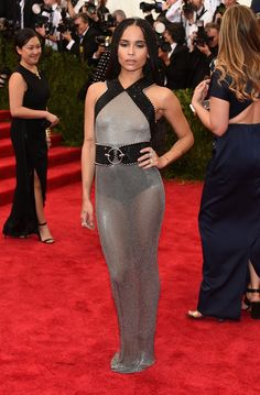 Pin for Later: The Craziest, Most Brilliant Dresses Alexander Wang Designed For Balenciaga Zoë Kravitz Zoë Kravitz chose a sheer silver and black halter-neck gown for the 2015 Met Gala.