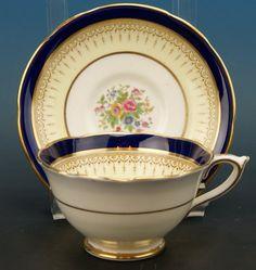Paragon Fine Bone China Delphic Pattern Cobalt Blue / Rose Cup & Saucer