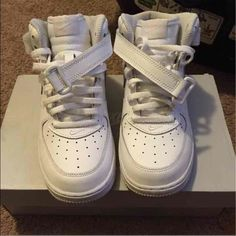 Force 1 mid They have been worn twice. There extremely clean. No scuffs. Comes with original box Shoes Sneakers