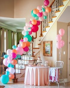 Bright balloon installations and a gorgeous staircase a perfect pair! 2nd Birthday Party Themes, Girl Birthday Decorations, 3rd Birthday, Birthday Ideas, Birthday Gifts, Balloon Garland, Balloon Decorations, Balloons, Balloon Installation