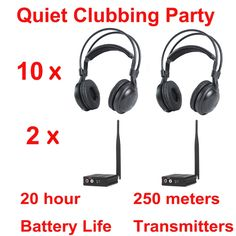 (399.00$)  Watch now - http://airn0.worlditems.win/all/product.php?id=32742634652 - Most Professional Silent Disco compete system wireless headphones - Quiet Clubbing Party Bundle (10 Headphones + 2 Transmitters)