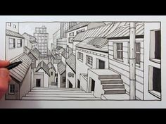 How to Draw a City Background in One-Point Perspective: Time Lapse - YouTube