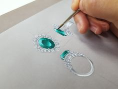 Please visit my youtube to see more Jewelry Illustration, Hand Illustration, Jewelry Art, Jewelry Design, Jewellery, Gemstone Rings, Sketch, Make It Yourself, Drawing