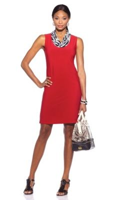 Tiana B. Printed Cowl-Neck Dress with Vince Camuto Wedges. Plus all of her accessories, in one place. It's like having an accessory genie.