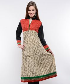 A traditional powerhouse that packs a punch, sounds like our edit of casual summer kurtis. These ethnic numbers go well with leggings or denims. From bright summer hues to ice-cream colors, these kurtis spell elegance and accentuate your curvaceous figure. So, come take a look at our rich designs and prints and take your pick. We guarantee you'll still be turning heads in this Indian attire.BRAND: NavyouCATEGORY: KurtaCOLOUR: Beige, Red and BlackMATERIAL: Cotton Blend