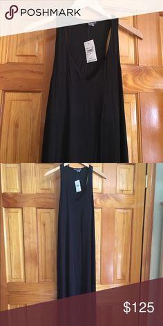 "VINCE Black Maxi Dress VINCE. NWT. Long Black Maxi. Dress up or down.  Shoulder to hem 57"" in Length. Shelf bra! Size M. Viscose & Spandex. Falls Beautifully. Vince Dresses Maxi"