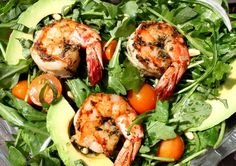 Spicy Shrimp with Avocado and Arugula Salad...basically all of my favorite foods in one dish :)