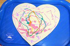 colored glue heart art - so easy & fun for Valentine's Day