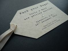 Pack your Bags!  Luggage Tag / Luggage Label styled Save the Date