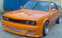 BMW E30 3 series cabrio orange slammed