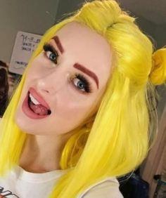 Limon sarısı renkli saç boyası ikili topuz cosplay saç modeli   Kadınca Fikir - Kadınca Fikir