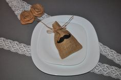 10 x Moustache  Love Favour Bags Hessian by inspiredcompany4u