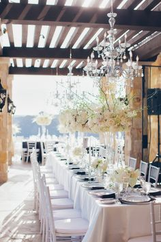 Tall White Centerpieces | Luxury Estate Weddings & Events | Theknot.com