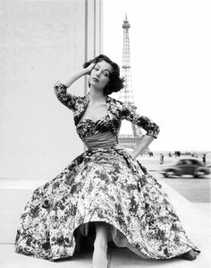 Ivy Nicholson in Paris wearing a gown by Maggy Rouff, 1953