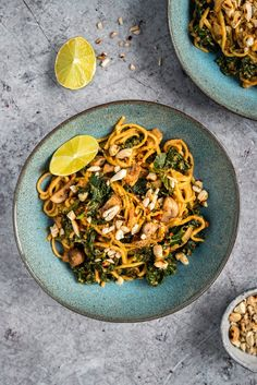 15-minute spicy peanut noodles with mushrooms and kale - a satisfying and quick vegetarian meal