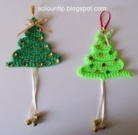 This article features awesome crochet patterns for Christmas tree appliques that are absolutely free! Crochet these free Christmas tree patterns for yourself or to give away as presents! Crochet Christmas Decorations, Crochet Christmas Ornaments, Holiday Crochet, Diy Christmas Tree, Handmade Ornaments, Christmas Knitting, Xmas Tree, Yarn Crafts, Christmas Crafts