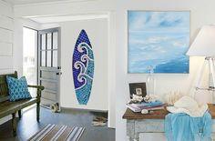 Surfboard Coastal Art Mosaic Wave Surfboard by LucyDesignsonline
