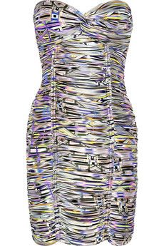 Ruched ikat-print satin-crepe dress by Matthew Williamson