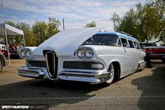 While many travel to the CHRR to get their fix of funny cars, altered dragsters and other legends of the quarter mile, the event actually welcomes all forms of customized American classics.And tucked away in the car show section, I found this 1958 Edsel station wagon, dumped to the ground and looking as cool as …