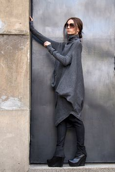 Oversize Grey Loose Casual Top   Asymmetric Raglan Long SleevesTunic Knit  Top   Maxi Blouse Turtle fd7b5f6d64a
