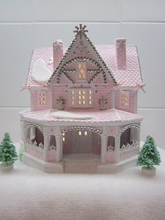 Gorgeous Pink lighted Christmas house....
