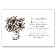 A sweet sunflower and daisy bouquet in a canning jar decorates this country, vintage wedding invitation from David's Bridal. See the matching invitation set! Davids Bridal Invitations, Budget Wedding Invitations, Invitation Set, Invites, Canning Jars, Daisy, Bouquet, Place Card Holders, Plum